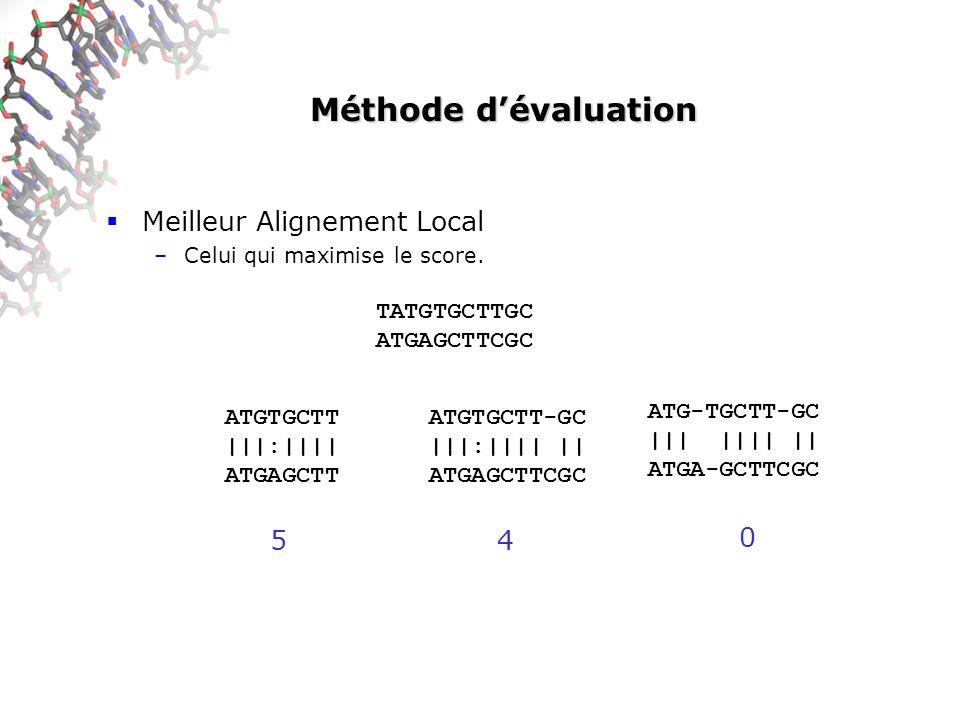 Méthode d'évaluation Meilleur Alignement Local 5 4 TATGTGCTTGC
