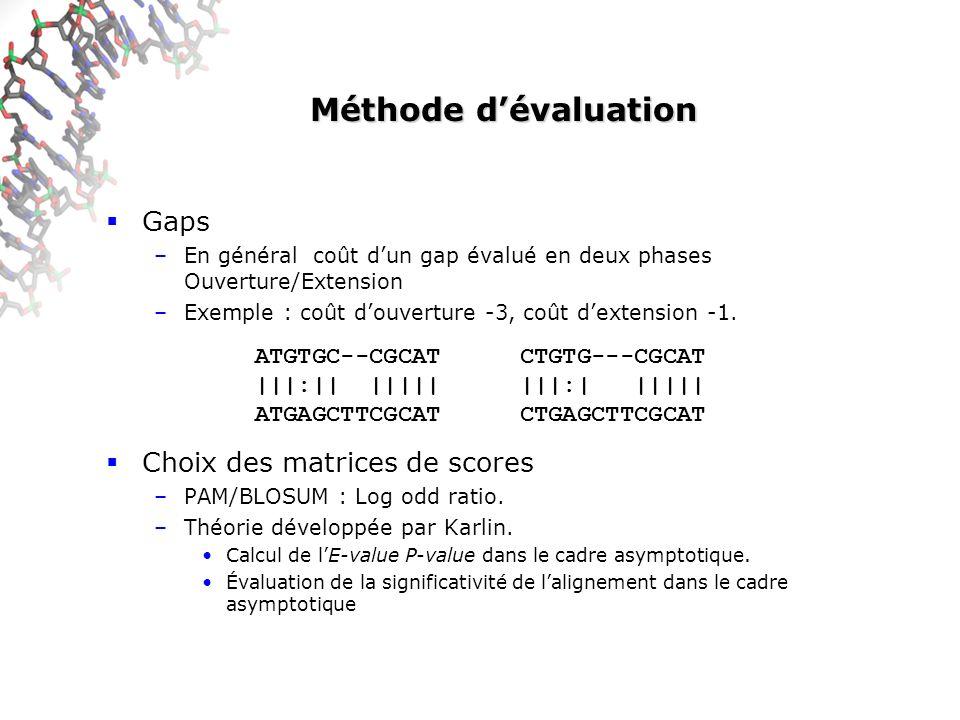 Méthode d'évaluation Gaps Choix des matrices de scores ATGTGC--CGCAT
