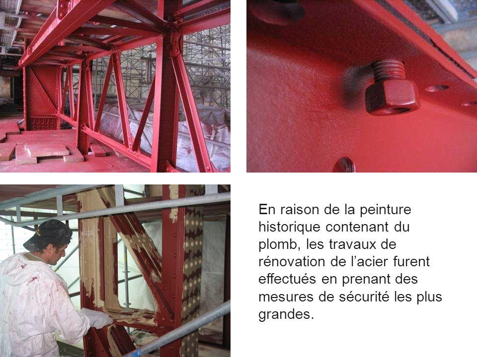 En raison de la peinture historique contenant du plomb, les travaux de rénovation de l'acier furent effectués en prenant des mesures de sécurité les plus grandes.