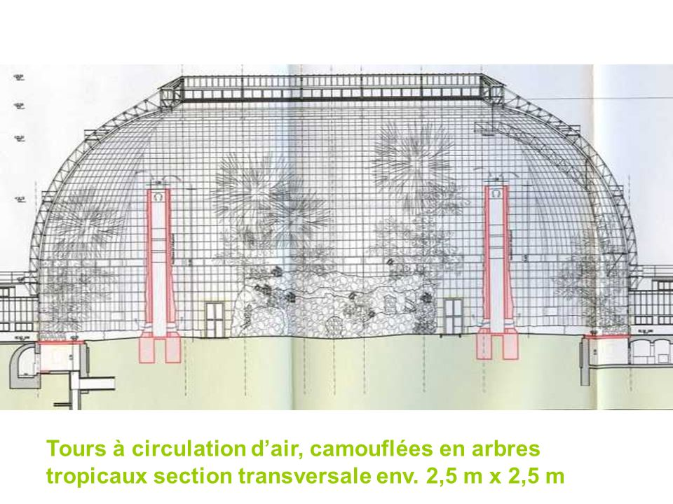 Tours à circulation d'air, camouflées en arbres tropicaux section transversale env. 2,5 m x 2,5 m