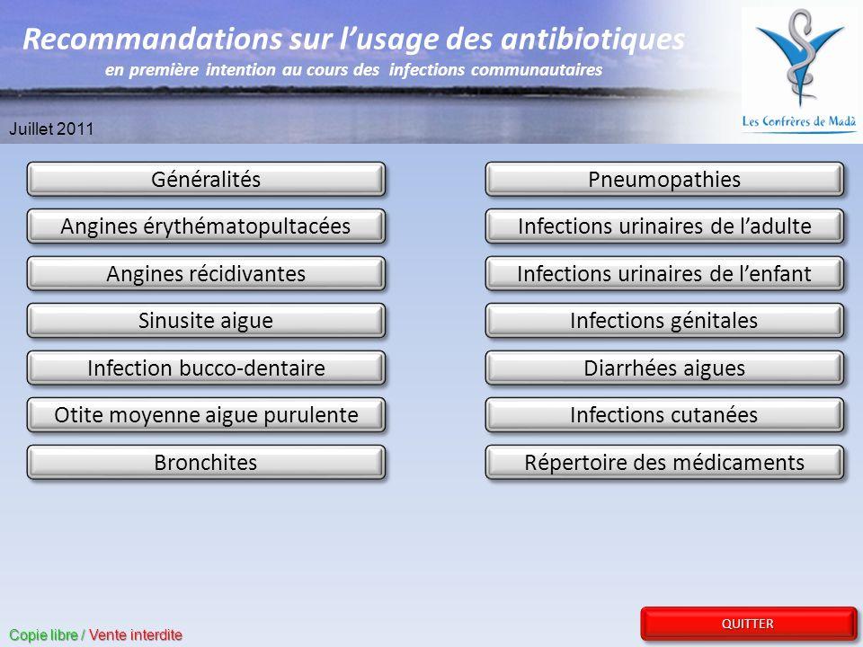 Recommandations sur l'usage des antibiotiques en première intention au cours des infections communautaires