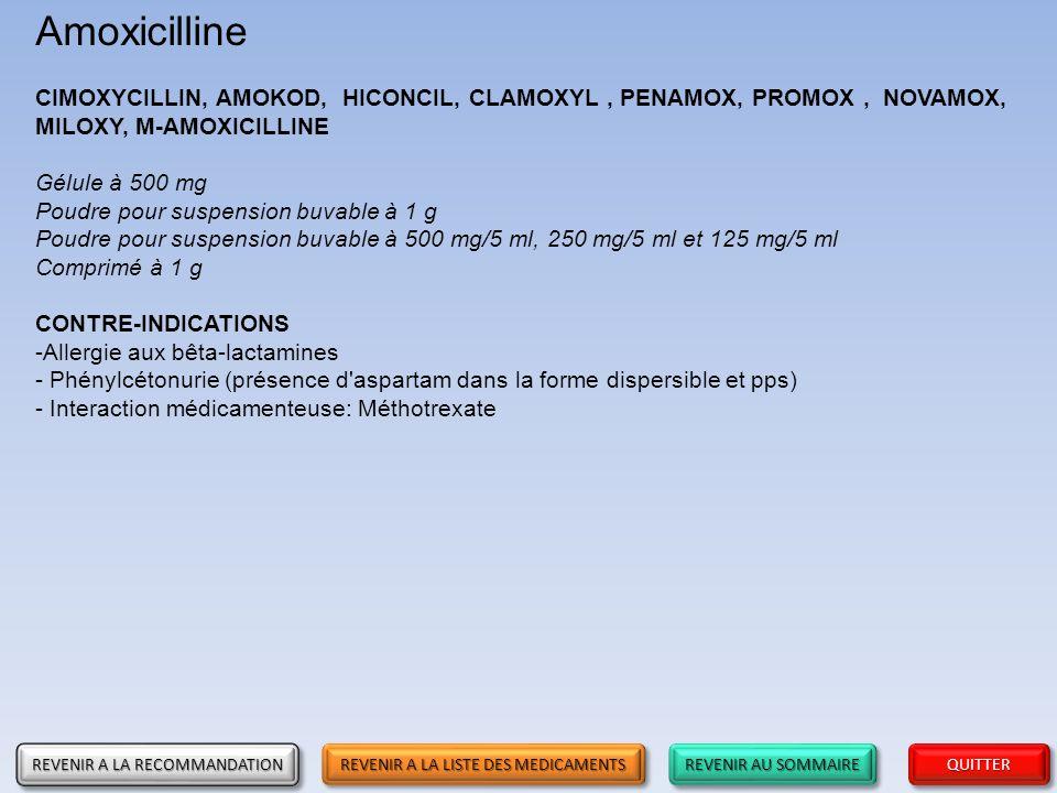 Amoxicilline CIMOXYCILLIN, AMOKOD, HICONCIL, CLAMOXYL , PENAMOX, PROMOX , NOVAMOX, MILOXY, M-AMOXICILLINE.