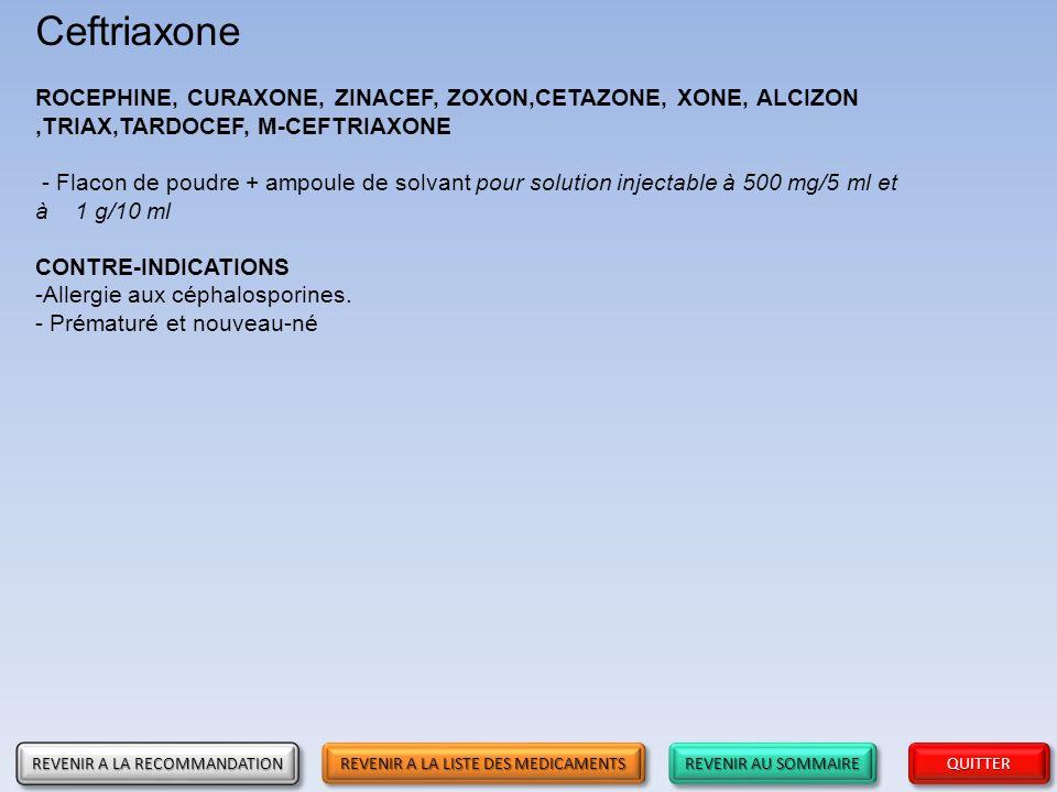 Ceftriaxone ROCEPHINE, CURAXONE, ZINACEF, ZOXON,CETAZONE, XONE, ALCIZON ,TRIAX,TARDOCEF, M-CEFTRIAXONE.
