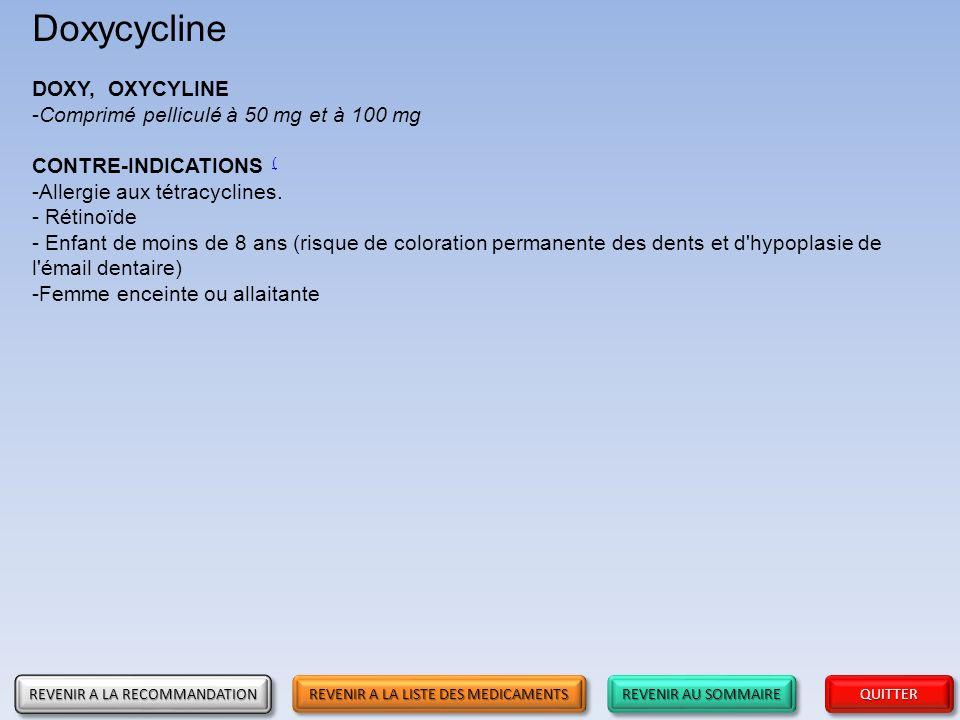 Doxycycline DOXY, OXYCYLINE Comprimé pelliculé à 50 mg et à 100 mg