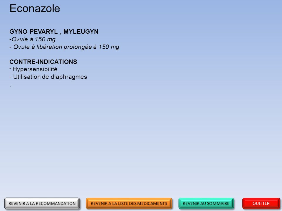 Econazole GYNO PEVARYL , MYLEUGYN Ovule à 150 mg