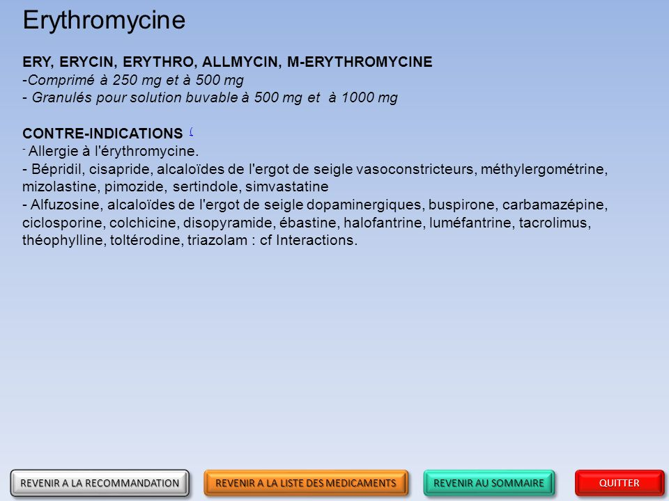 Erythromycine ERY, ERYCIN, ERYTHRO, ALLMYCIN, M-ERYTHROMYCINE