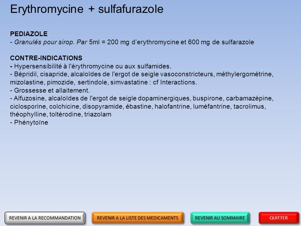 Erythromycine + sulfafurazole