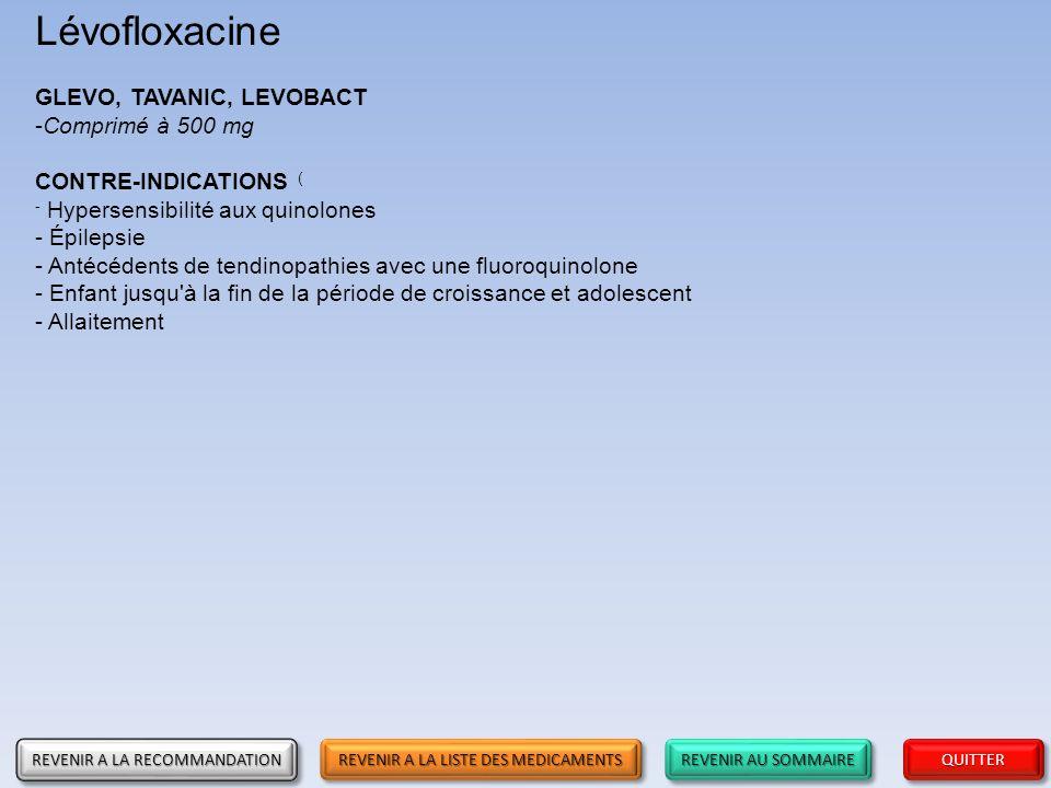 Lévofloxacine GLEVO, TAVANIC, LEVOBACT Comprimé à 500 mg