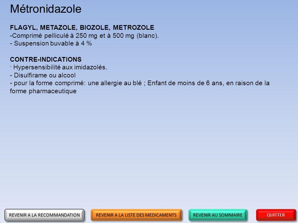 Métronidazole FLAGYL, METAZOLE, BIOZOLE, METROZOLE