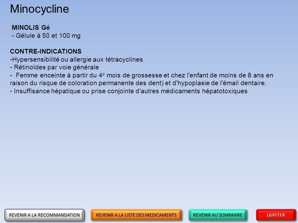 Minocycline MINOLIS Gé - Gélule à 50 et 100 mg CONTRE-INDICATIONS