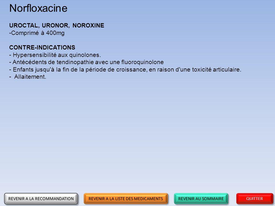 Norfloxacine UROCTAL, URONOR, NOROXINE Comprimé à 400mg
