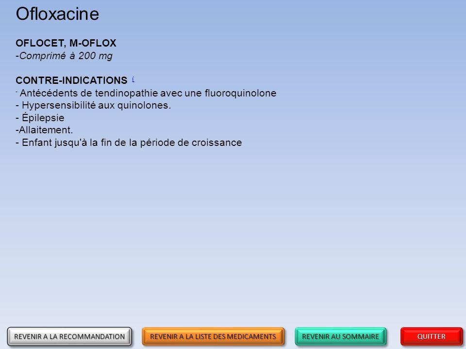 Ofloxacine OFLOCET, M-OFLOX Comprimé à 200 mg CONTRE-INDICATIONS (