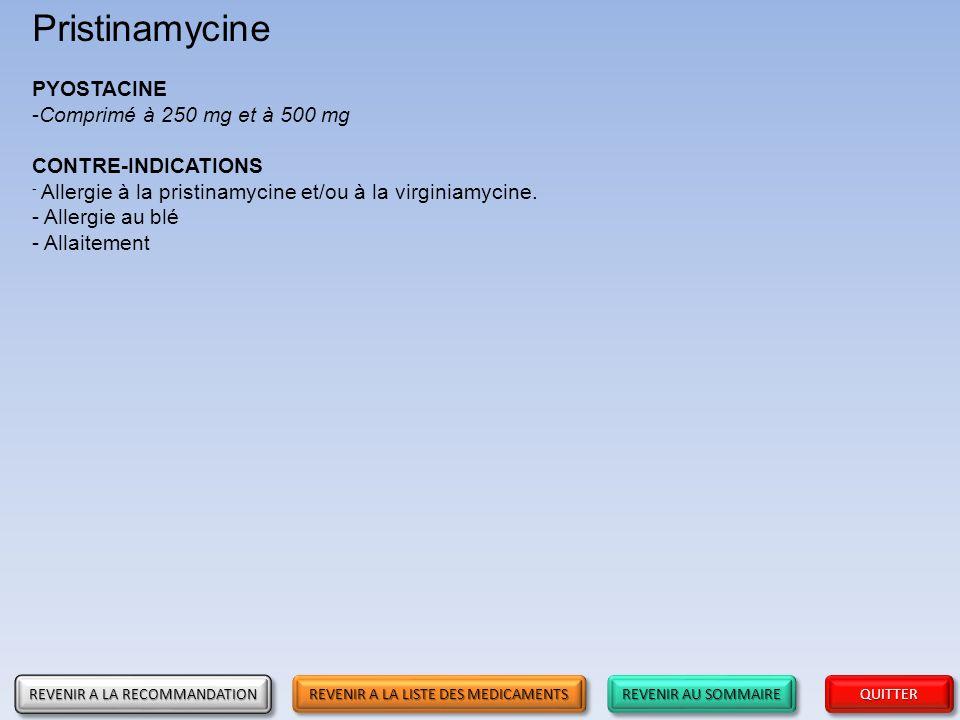Pristinamycine PYOSTACINE Comprimé à 250 mg et à 500 mg