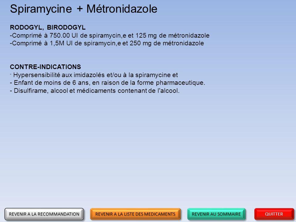 Spiramycine + Métronidazole