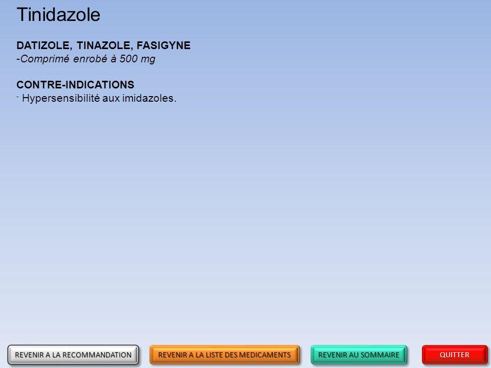 Tinidazole DATIZOLE, TINAZOLE, FASIGYNE Comprimé enrobé à 500 mg