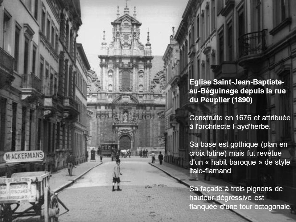 Eglise Saint-Jean-Baptiste-au-Béguinage depuis la rue du Peuplier (1890)