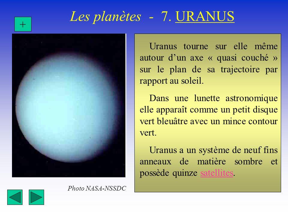 Les planètes - 7. URANUS + Uranus tourne sur elle même autour d'un axe « quasi couché » sur le plan de sa trajectoire par rapport au soleil.