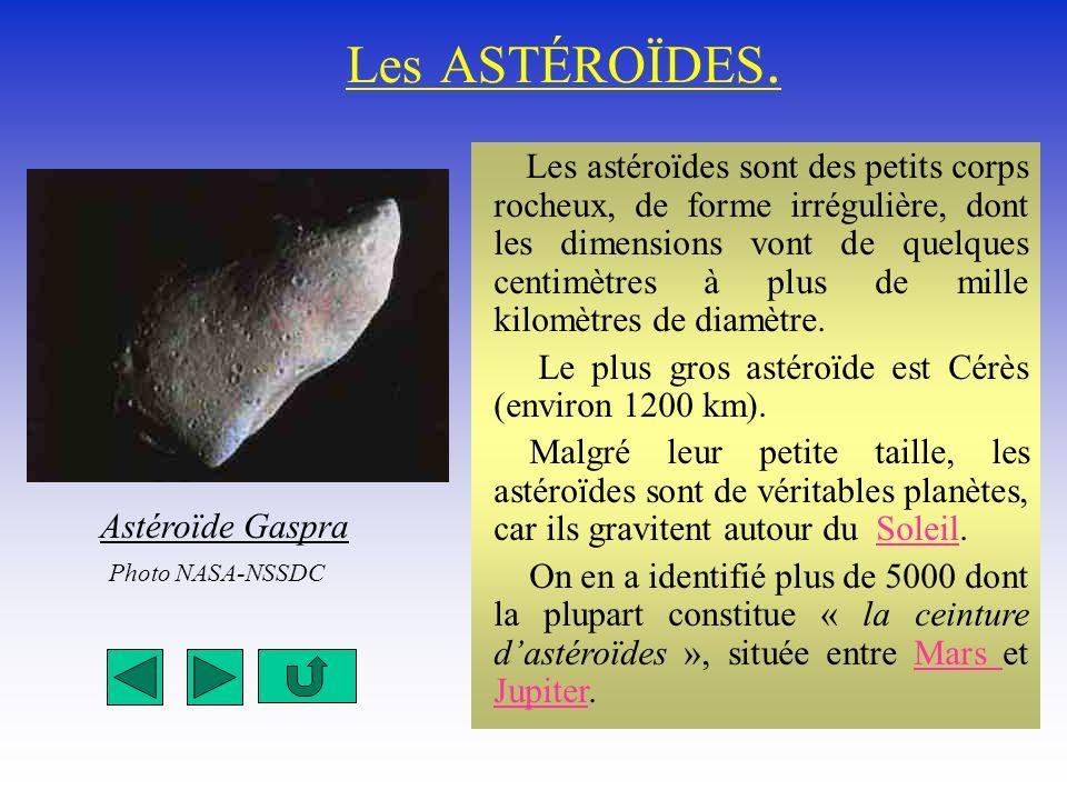 Les ASTÉROÏDES. Le plus gros astéroïde est Cérès (environ 1200 km).