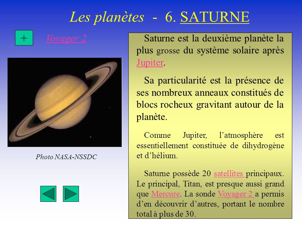 Les planètes - 6. SATURNE + Voyager 2