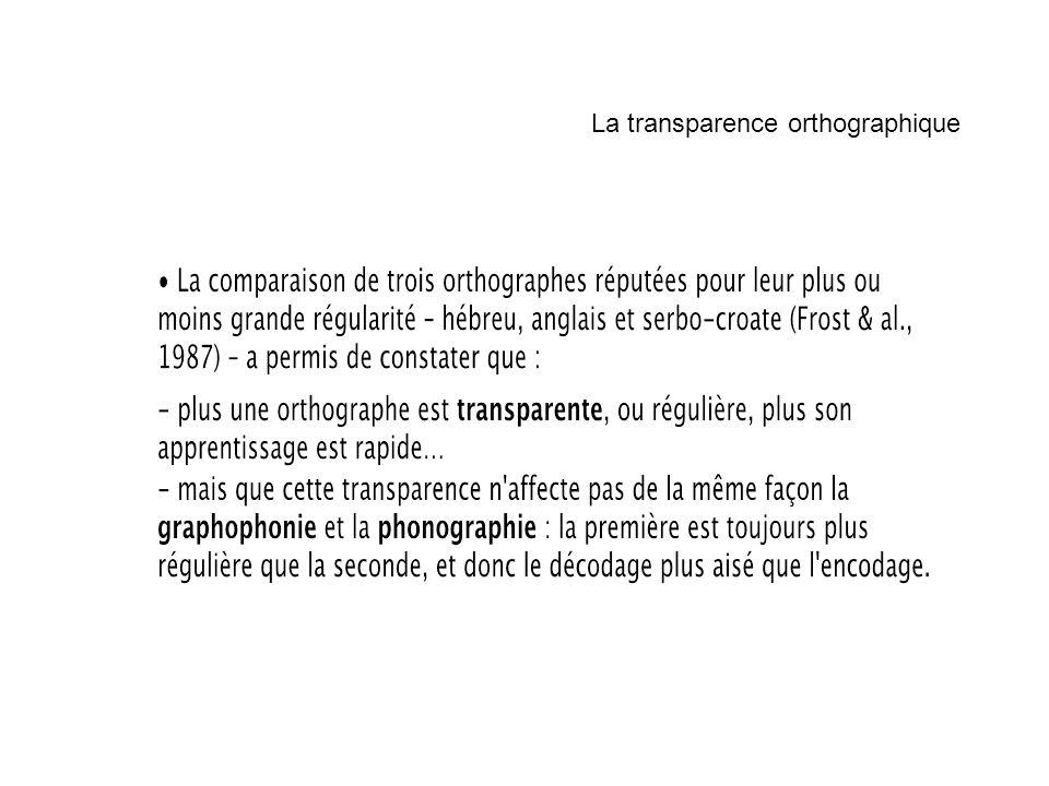 La transparence orthographique