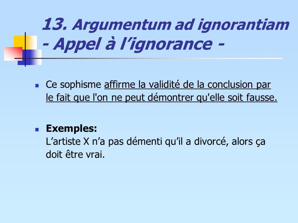 13. Argumentum ad ignorantiam - Appel à l'ignorance -