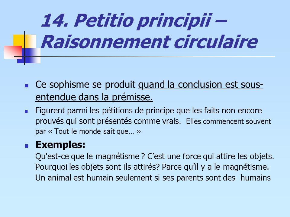 14. Petitio principii – Raisonnement circulaire
