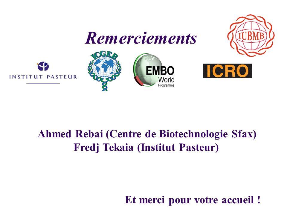 Remerciements Ahmed Rebai (Centre de Biotechnologie Sfax)