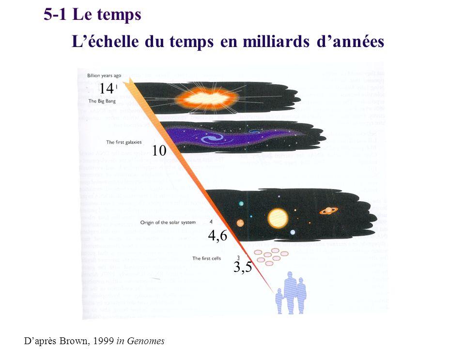 L'échelle du temps en milliards d'années