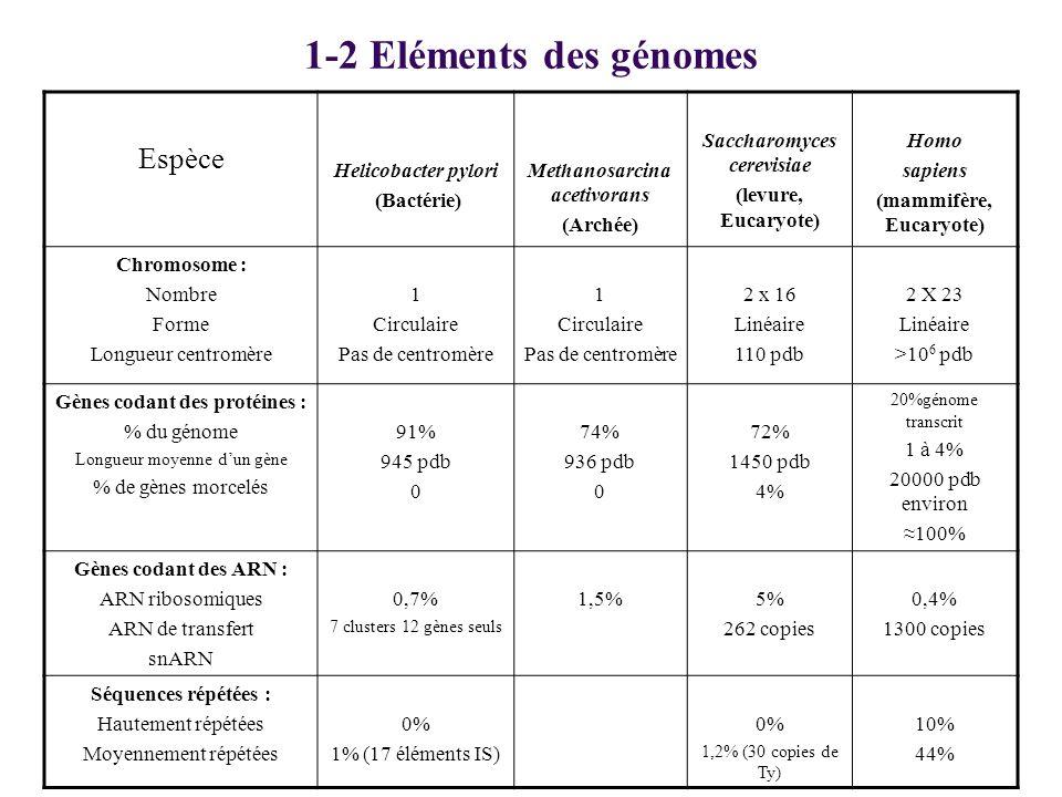 1-2 Eléments des génomes Espèce Helicobacter pylori (Bactérie)