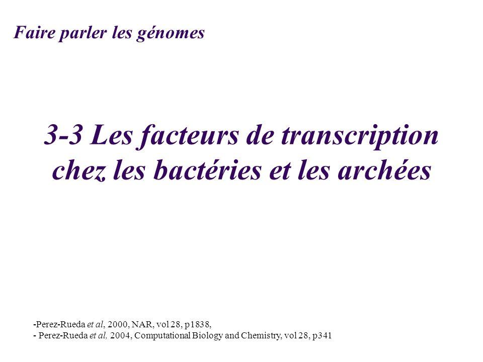 3-3 Les facteurs de transcription chez les bactéries et les archées
