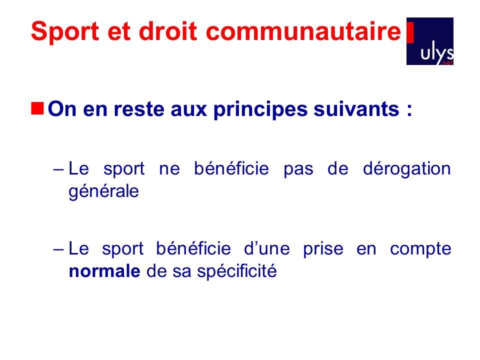 Sport et droit communautaire