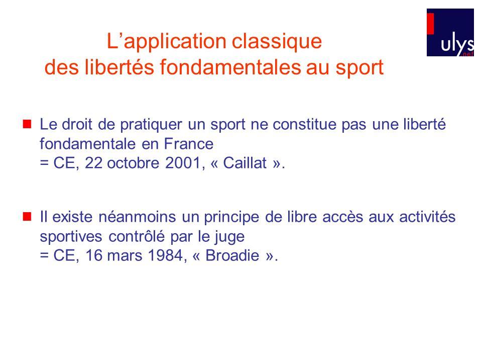 L'application classique des libertés fondamentales au sport