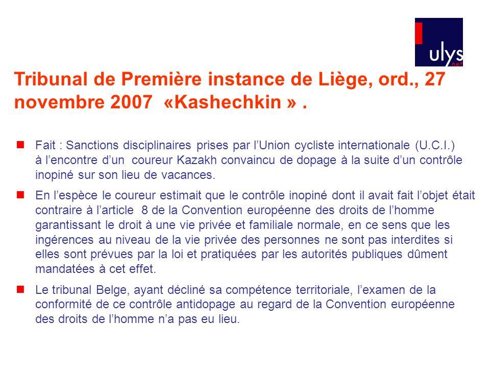 Tribunal de Première instance de Liège, ord