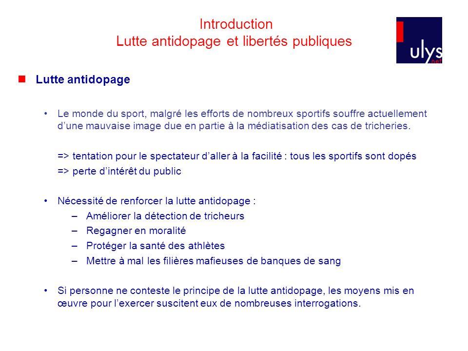 Introduction Lutte antidopage et libertés publiques