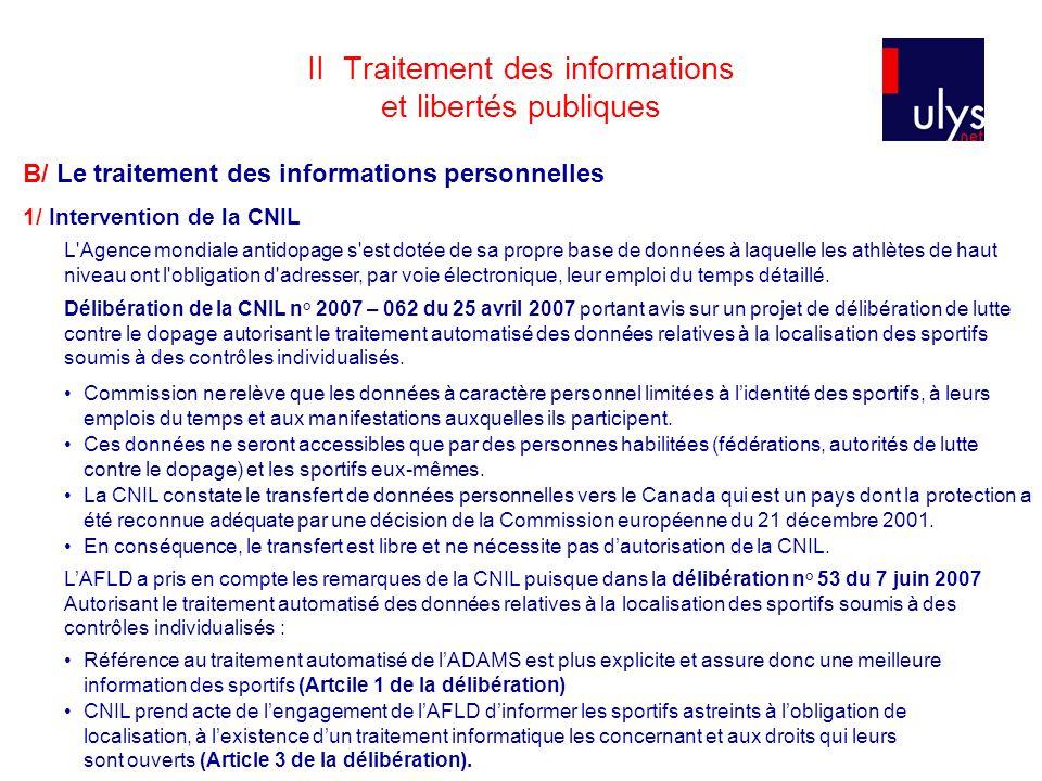 II Traitement des informations et libertés publiques