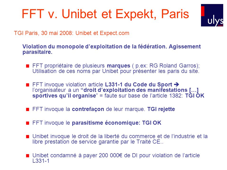 FFT v. Unibet et Expekt, Paris
