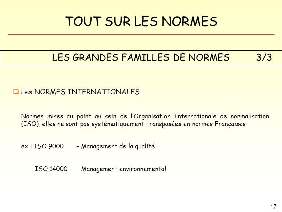 LES GRANDES FAMILLES DE NORMES
