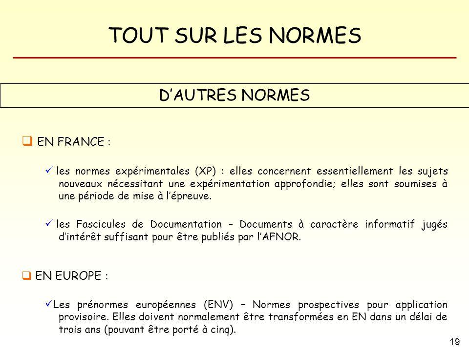 D'AUTRES NORMES EN FRANCE : EN EUROPE :