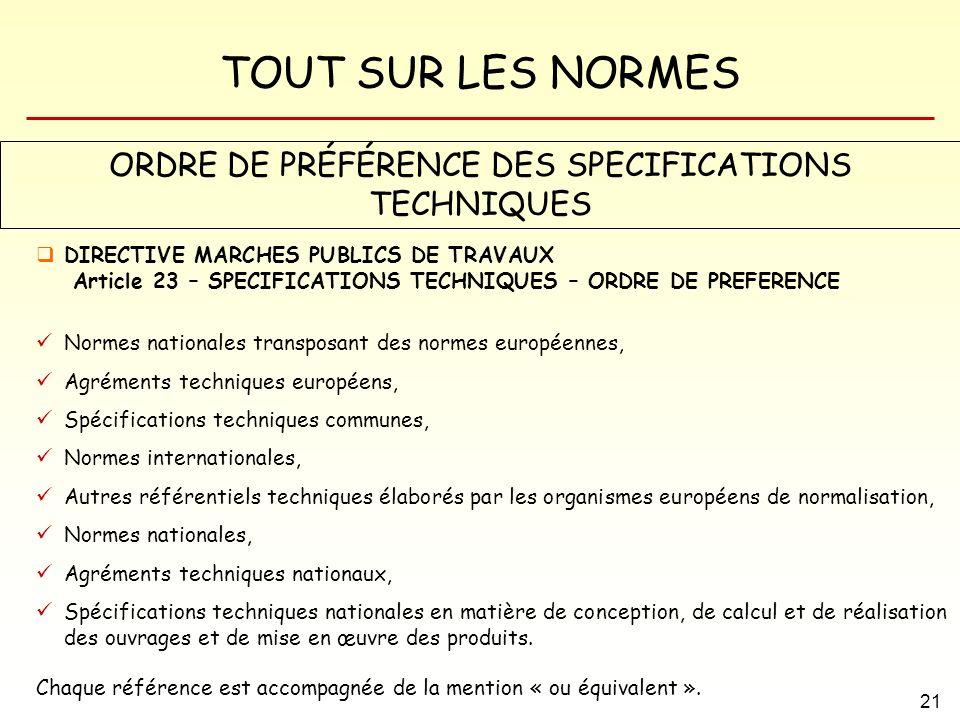 ORDRE DE PRÉFÉRENCE DES SPECIFICATIONS TECHNIQUES