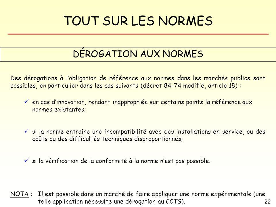 DÉROGATION AUX NORMES