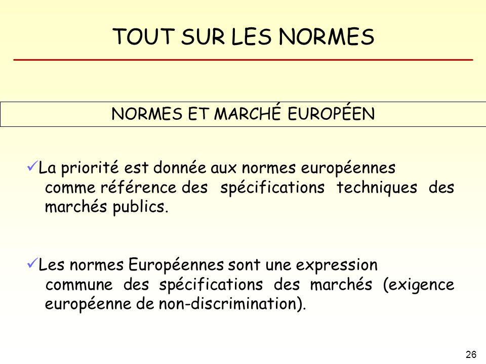 NORMES ET MARCHÉ EUROPÉEN