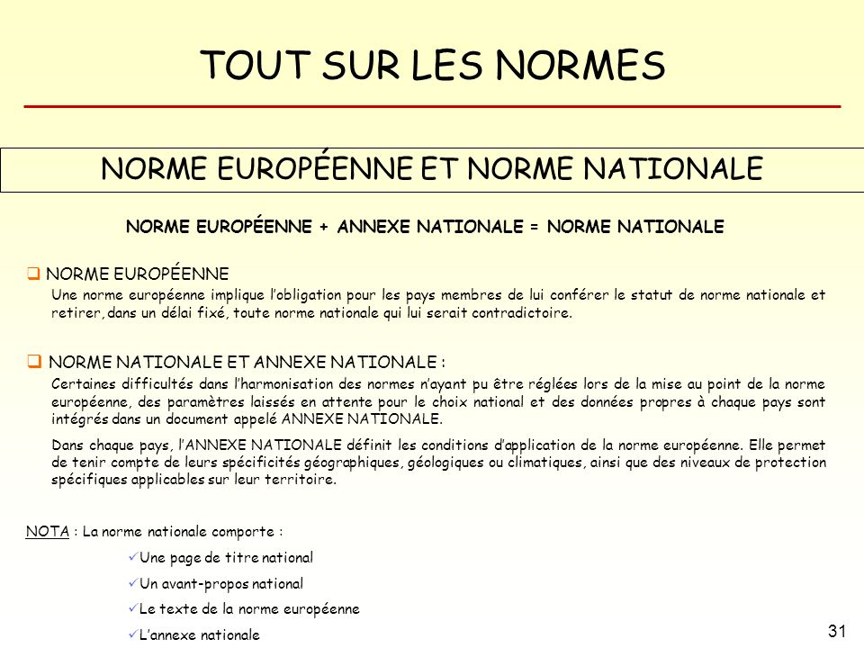 NORME EUROPÉENNE + ANNEXE NATIONALE = NORME NATIONALE