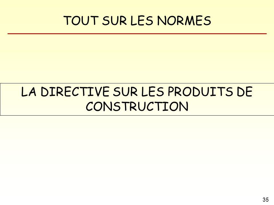 LA DIRECTIVE SUR LES PRODUITS DE CONSTRUCTION