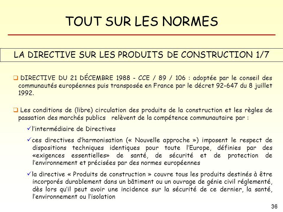 LA DIRECTIVE SUR LES PRODUITS DE CONSTRUCTION 1/7