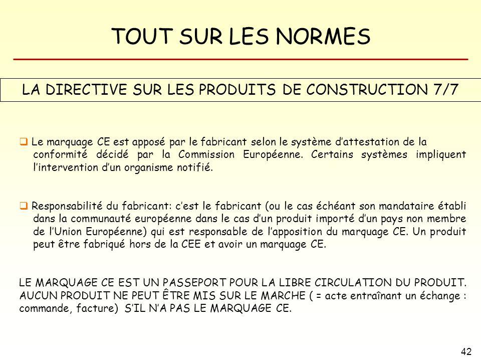 LA DIRECTIVE SUR LES PRODUITS DE CONSTRUCTION 7/7