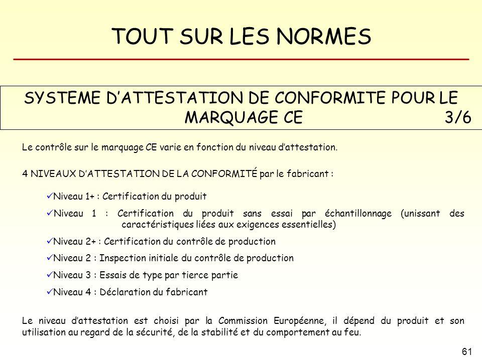 SYSTEME D'ATTESTATION DE CONFORMITE POUR LE MARQUAGE CE 3/6