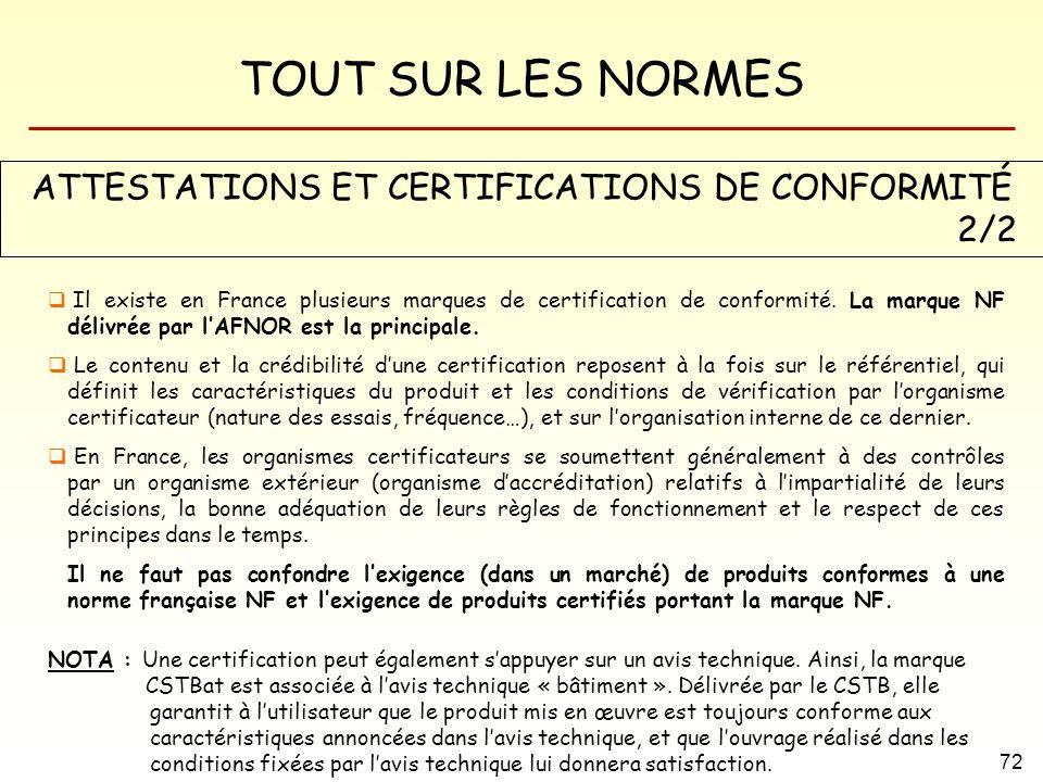 ATTESTATIONS ET CERTIFICATIONS DE CONFORMITÉ 2/2