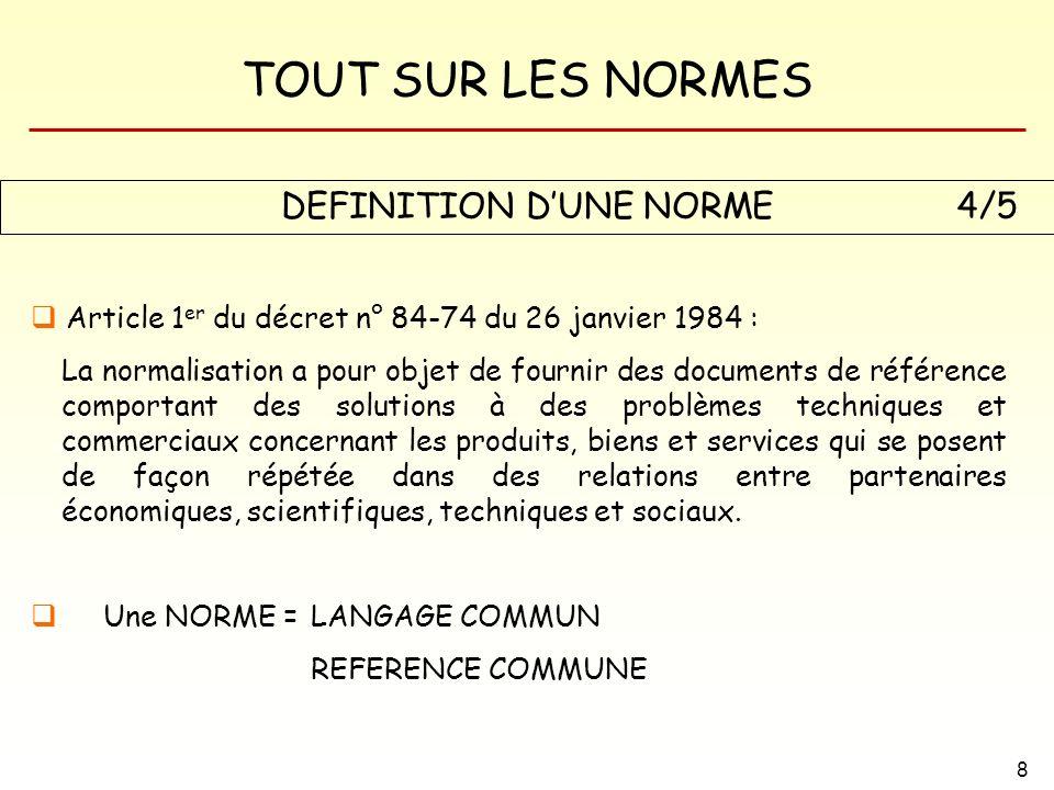 DEFINITION D'UNE NORME