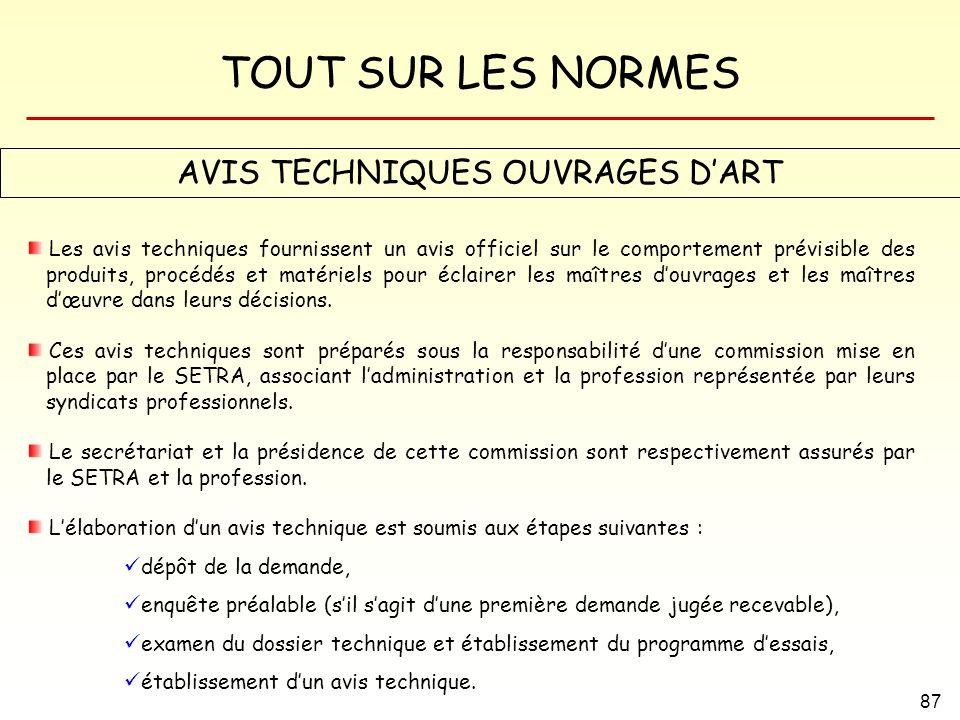 AVIS TECHNIQUES OUVRAGES D'ART