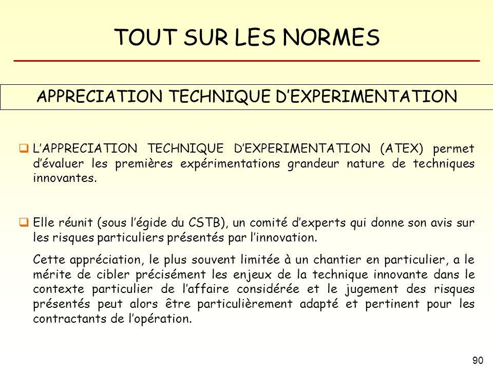 APPRECIATION TECHNIQUE D'EXPERIMENTATION